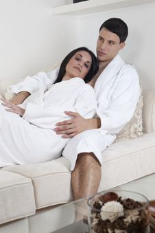 Sexy Young Couple In The Morning Stock Images