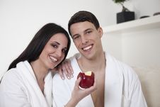 Free Sexy Young Couple In The Morning With An Apple Stock Image - 15947891