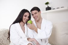 Free Sexy Young Couple In The Morning With An Apple Stock Image - 15947931