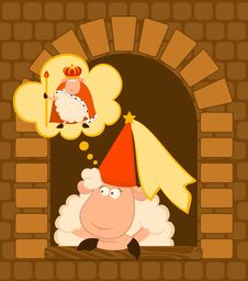 Free King Of Sheep In A Crown With A Princess Stock Photo - 15948000