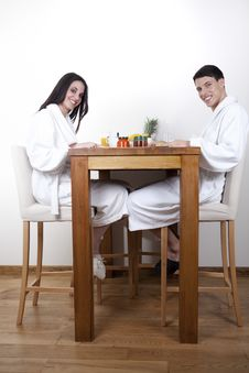 Sexy Young Couple In The Morning Having Breakfast Royalty Free Stock Photo