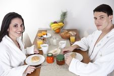 Free Sexy Young Couple In The Morning Having Breakfast Stock Images - 15948324