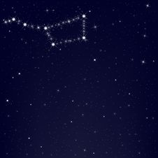 Dark Blue Sky With Constellation. Vector Royalty Free Stock Image