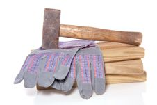 Working Glove And Carpenter Tools Royalty Free Stock Photo