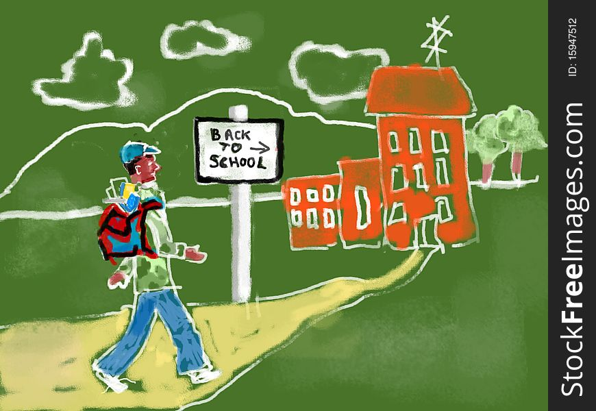 Chalk drawing of student going back to school