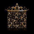 Free Golden Gift Box Stylized, Floral Ornament Design Royalty Free Stock Image - 15953506