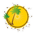 Free Grunge Summer Vector Background With Palms Stock Image - 15954001
