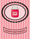 Free Birthday Card With Strawberry Jam. Vector. Stock Image - 15954061