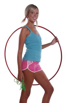 Woman With Hula Hoop And Jump Rope. Stock Images