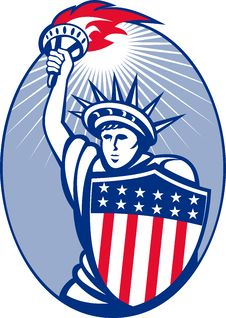 Statue Of Liberty Torch Shield Stock Photos