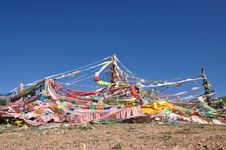 View Of Prayer Flags In  Tibet Royalty Free Stock Photos
