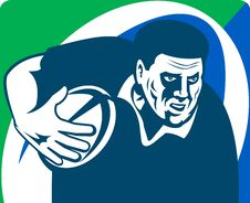 Free Rugby Player Running Ball Royalty Free Stock Images - 15952699
