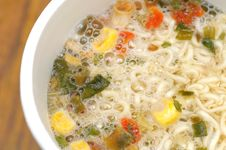 Cooked Noodles With Vegetables Stock Photos