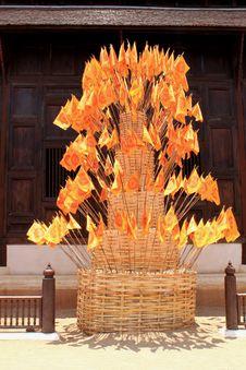 Buddhism Flag  On Bamboo Pagoda Royalty Free Stock Photography