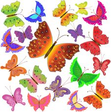 Collection Of Multi-colored Butterflies Royalty Free Stock Image