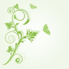 Free Flowers And Butterfly. Vector Card Royalty Free Stock Photos - 15954658
