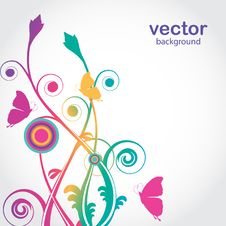 Free Flowers And Butterfly. Vector Card Stock Photography - 15954662