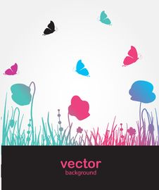 Free Flowers And Butterfly. Vector Card Stock Photo - 15954790