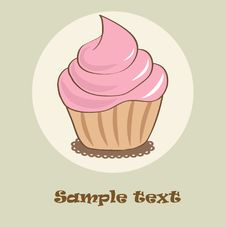 Birthday Card With Strawberry Cupcake. Royalty Free Stock Images