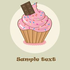 Birthdays Card With Cupcake. Stock Photos
