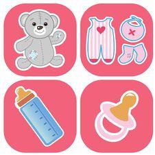 Free Babys Icons Set Royalty Free Stock Image - 15954976