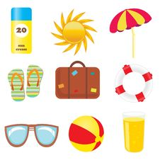 Free Set Of Beach Icons Stock Image - 15955031