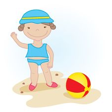 Free Cute Little Girl With Beach Ball Stock Photography - 15955042