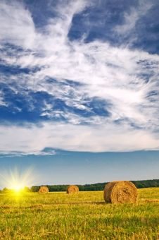 Free Haystack And Stubble By Summertime. Stock Image - 15956711