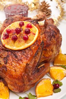 Free Roasted Christmas Chicken Royalty Free Stock Photos - 15956808