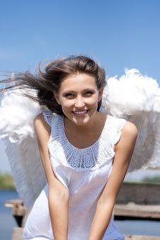 Beautiful Happy Angel Girl Stock Photo