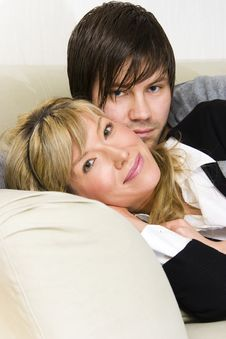 Free Couple Relaxing At Home Royalty Free Stock Photography - 15957107
