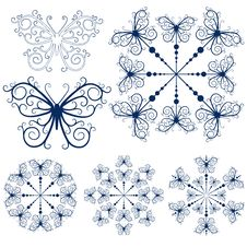 Free Collection Blue Snowflakes Stock Images - 15958874