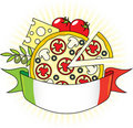 Free Pizza With The Components And The Flag Of Italy. Stock Photography - 15960252