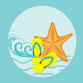 Free Starfish. Summer Card. Stock Photography - 15969872