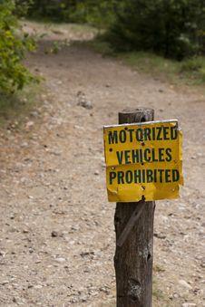 Free Motorized Vehicles Prohibited Royalty Free Stock Image - 15962076