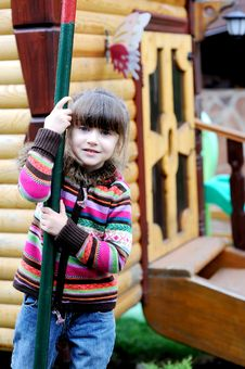 Adorable Preschooler Girl On Playground Royalty Free Stock Images