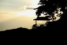 Silhouette Hut By The Sea Stock Photography