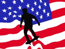 Free American Skater Vector Card Royalty Free Stock Images - 15963699