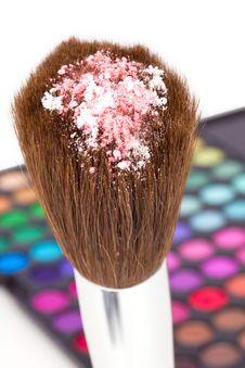 Free Eye Shadows On Professional Make-up Brush Stock Photography - 15964272