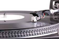 Needle On Spinning Turntable Stock Photography