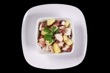 Free Octopus With Potatoes Served In A White Dish Royalty Free Stock Photography - 15964607