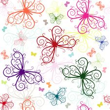Repeating White Pattern With Butterflies Royalty Free Stock Photo