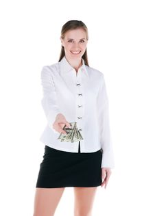 Free Young Woman With The Money Royalty Free Stock Photography - 15967867