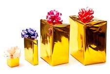 Free Row From Yellow Gifts Boxes Royalty Free Stock Photography - 15968297