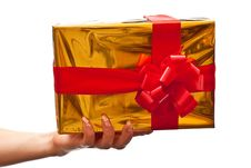 Free Female Hand Holding Yellow Gift Box Royalty Free Stock Images - 15968329