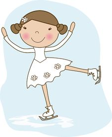 Girl On Skates. Royalty Free Stock Images