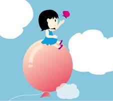Free Girl With Big Balloon Royalty Free Stock Photos - 15969628