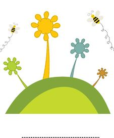 Free Abstract Flowers And Bees On The Green Hill. Stock Images - 15969704