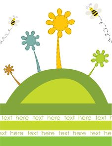 Free Abstract Flowers And Bees On The Green Hill. Stock Photo - 15969730