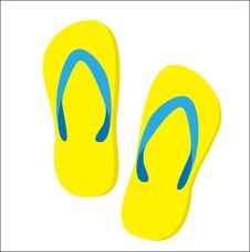 Free Summer Card With Slippers Royalty Free Stock Images - 15969829
